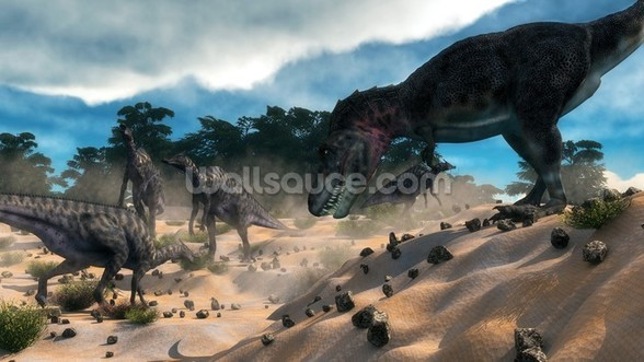 Dinosaur Hunting wallpaper mural
