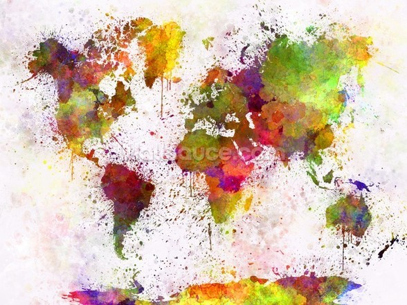 World Map Colour Splash mural wallpaper