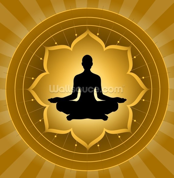 Yoga - Meditation On Lotus Background mural wallpaper