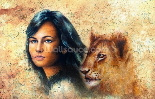 Graffiti - Woman and Lion Cub wall mural