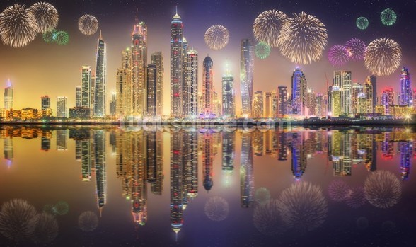 Beautiful Fireworks in Dubai Marina wallpaper mural