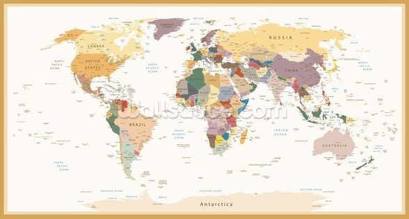 Political World Map Vintage Colours wall mural