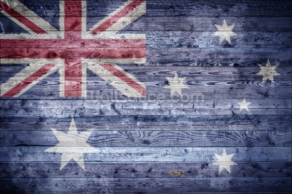 Australian Flag on Wood wall mural