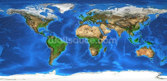 World Map and Landforms wallpaper mural