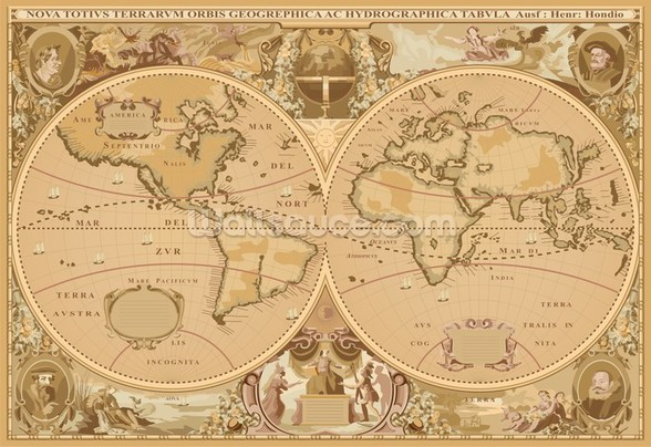 Antique World Map wallpaper mural