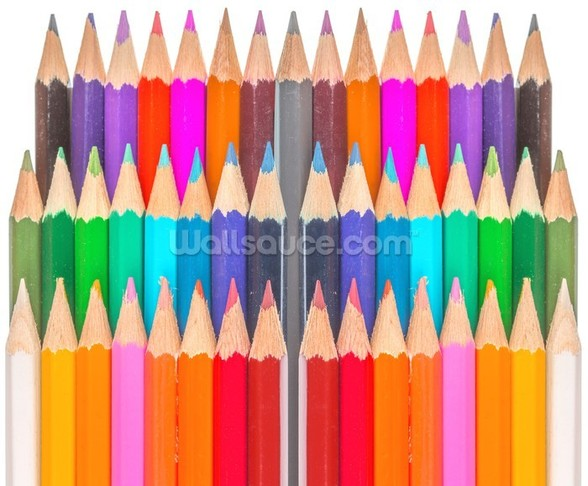 Rows of Coloured Pencils wall mural