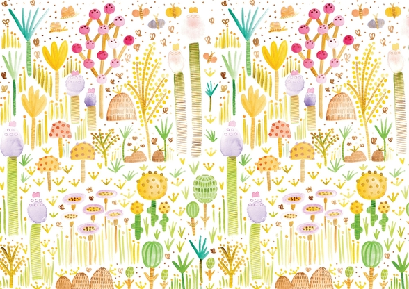 Cacti and Fungi Garden mural wallpaper