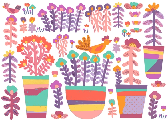 Pots and Flowers mural wallpaper