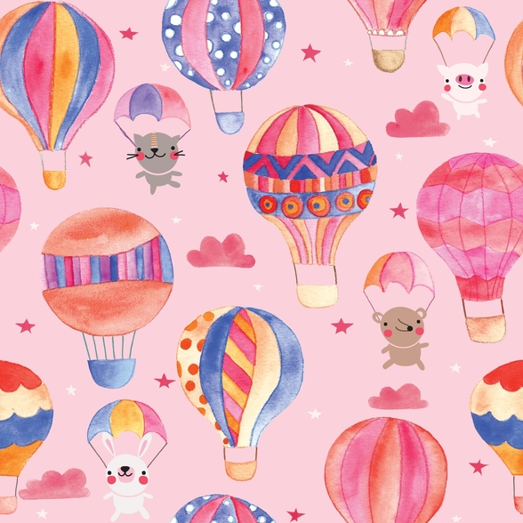 Animals In Hot Air Balloons Pattern wall mural