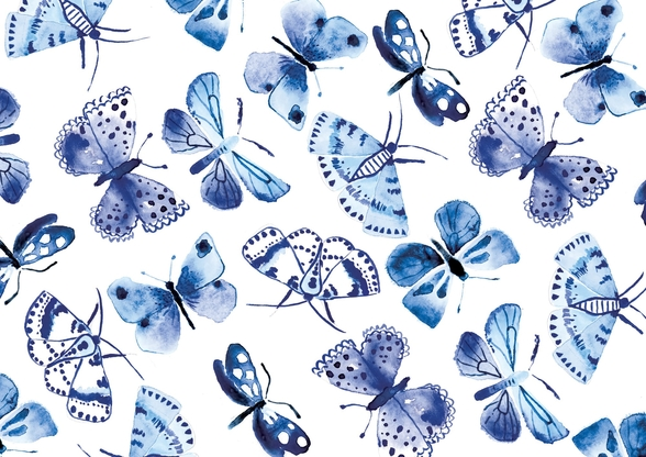 Blue Butterflies wallpaper mural