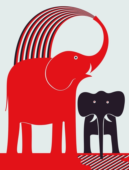 Red Elephant wall mural