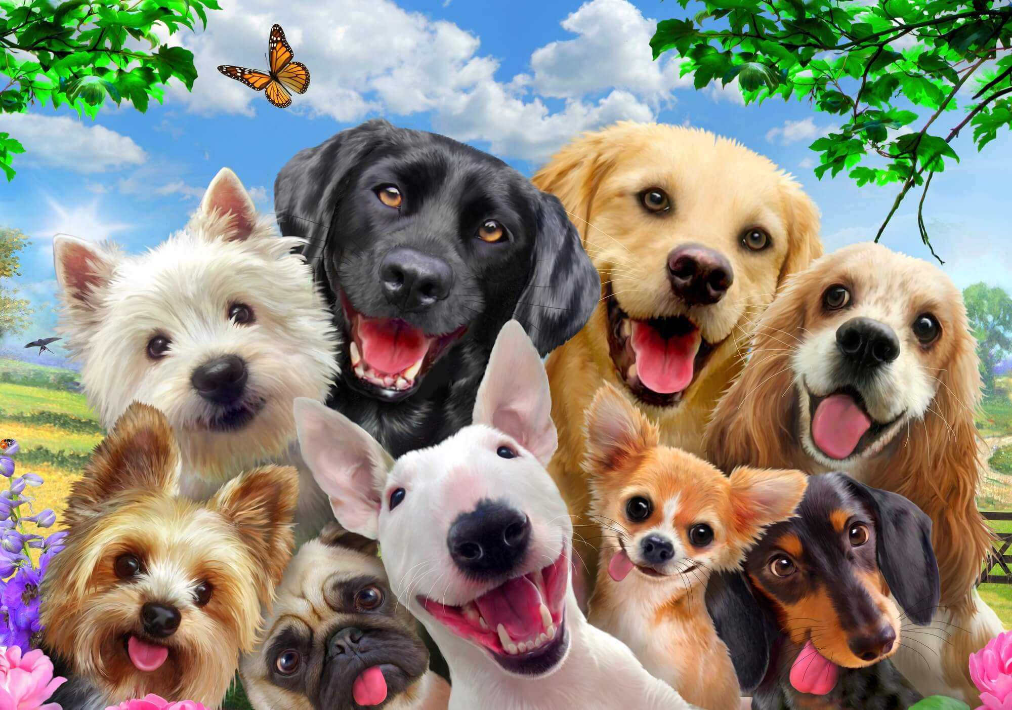 Dogs Selfie Wallpaper Mural
