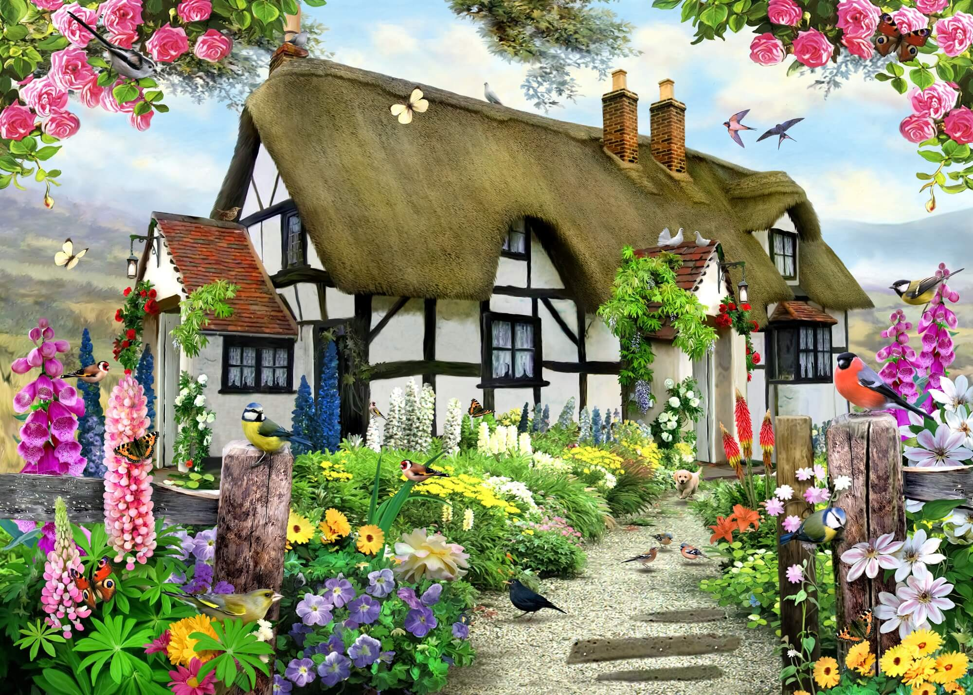 Rose cottage wall mural rose cottage wallpaper for Rose cottage