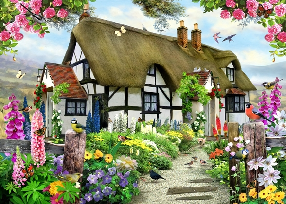 Rose cottage wall mural