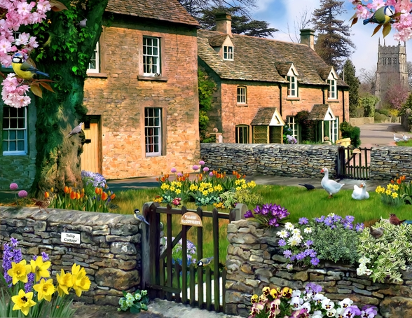 Tulip Cottage mural wallpaper
