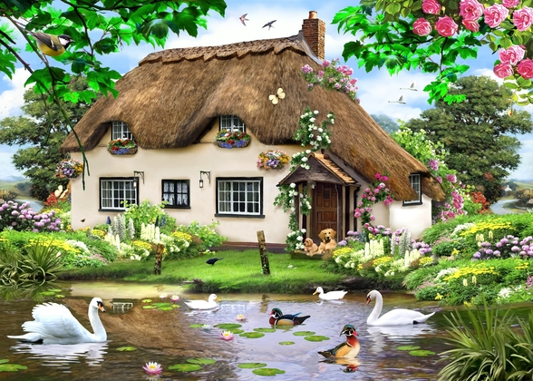 Swan cottage wall mural