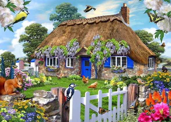 Wisteria Cottage wallpaper mural