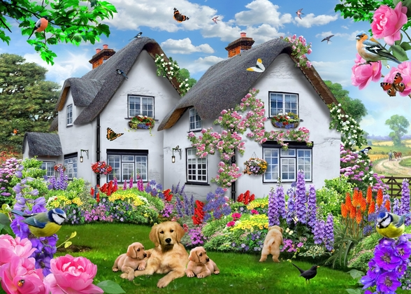 Delphinium Cottage wall mural