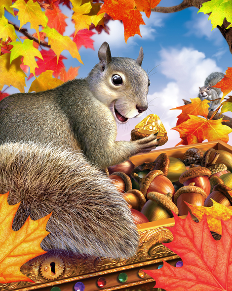 Squirrel mural wallpaper