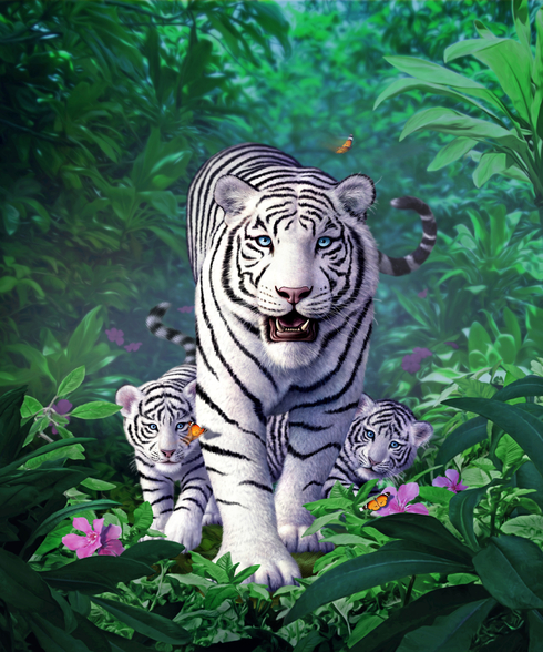 White Tigers wallpaper mural