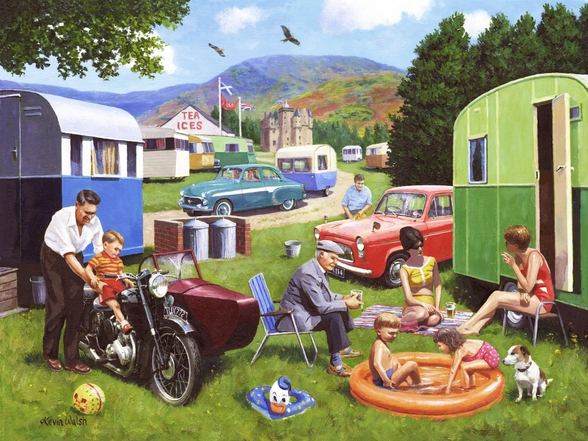 Caravanning in the Highlands wallpaper mural