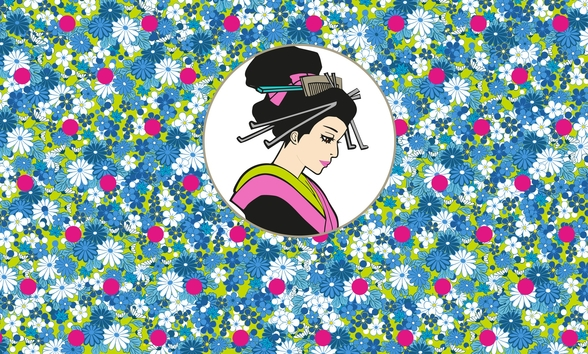 Flowerbed Geisha mural wallpaper