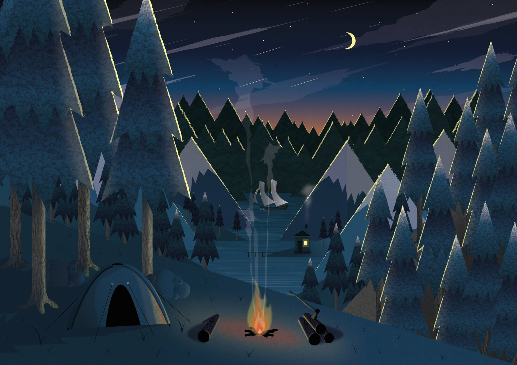 Moonlight Camping Wall Mural