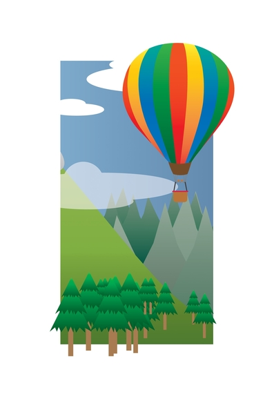Balloon Ride in the Sky (2013) wall mural