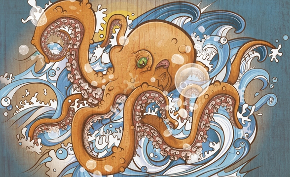 Surfing the 8 Legged Waves (2013) mural wallpaper