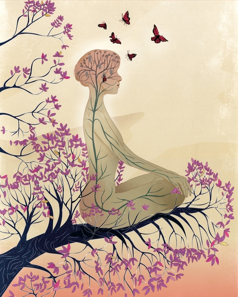 Mind of a meditator wall mural