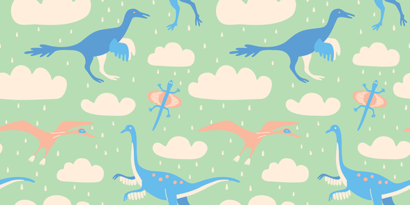 Flying Dinosaurs wall mural