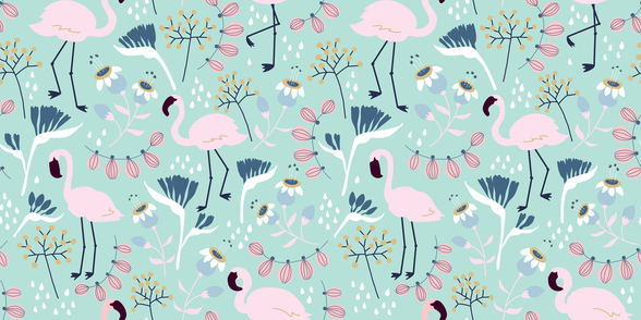 Flamingo Mint wall mural