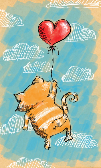 Cat and Balloon mural wallpaper
