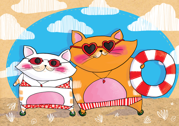 Cats on Holiday wall mural