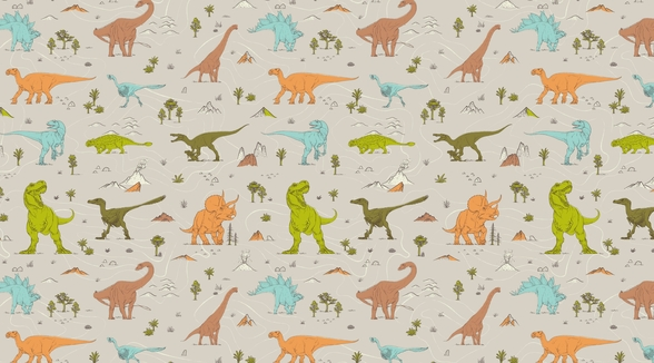 Colourful Dinosaur Pattern wall mural