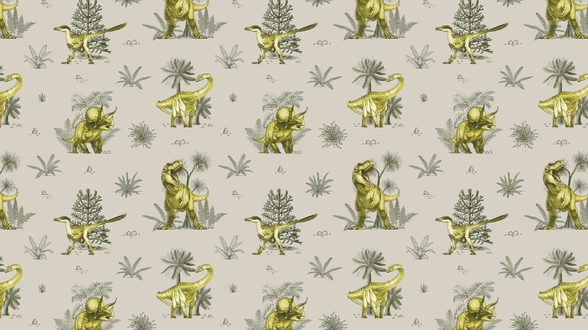 Green Dinosaur Pattern wallpaper mural