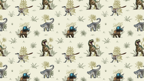 Illustrated Dinosaur Pattern mural wallpaper