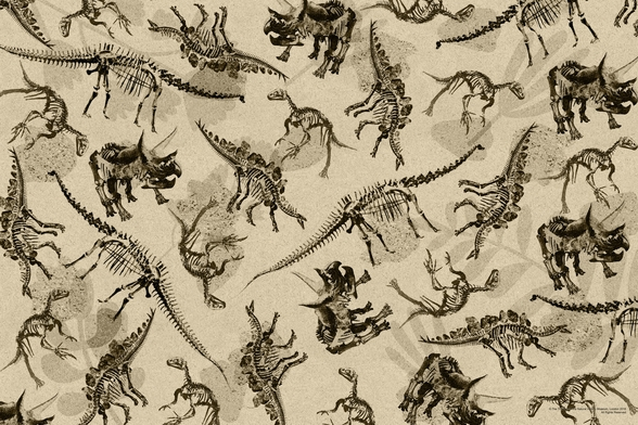 Dinosaur Skeleton Montage (Antique) wall mural