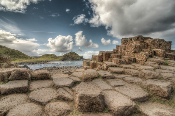 Cloudy Day on Giant's Causeway wallpaper mural