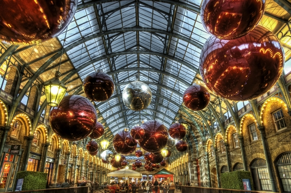 Covent Garden Christmas Baubles wallpaper mural