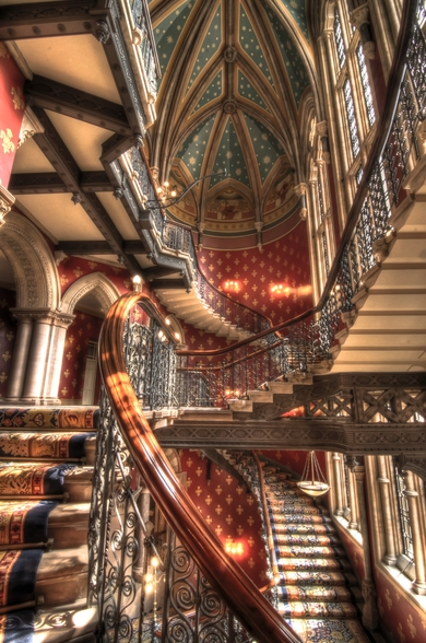 Grand Staircase at St Pancras Renaissance Hotel, London wall mural