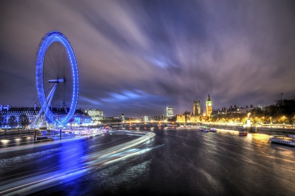 Light trails up The Thames mural wallpaper