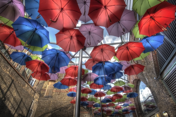 London Umbrella Art mural wallpaper