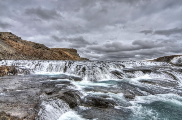 The river flows to Gulfoss falls, Iceland wall mural