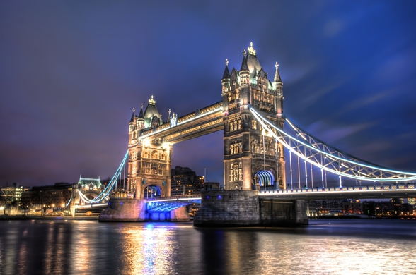 Tower Bridge at night wall mural