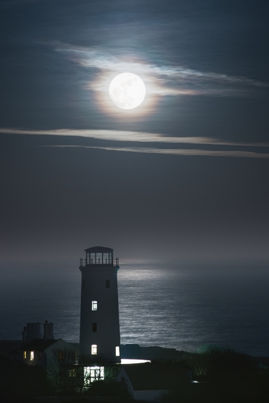 Old Lower Lighthouse Moonlight wall mural