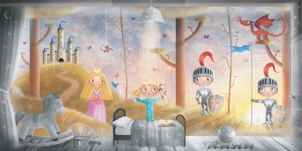 Boy With Knight And Princess Toys wall mural