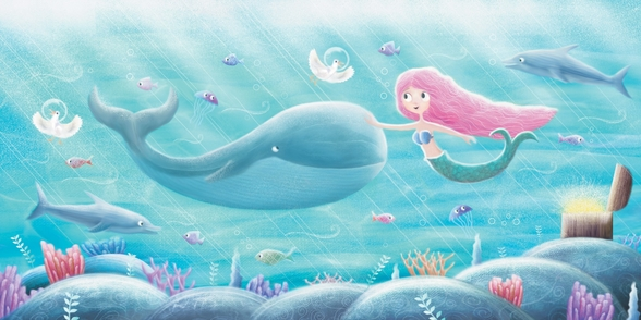 Mermaid Friends mural wallpaper