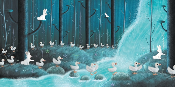 Rabbits And Ducks mural wallpaper