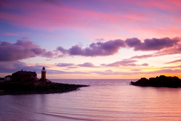 Portpatrick Lighthouse at Sundown mural wallpaper